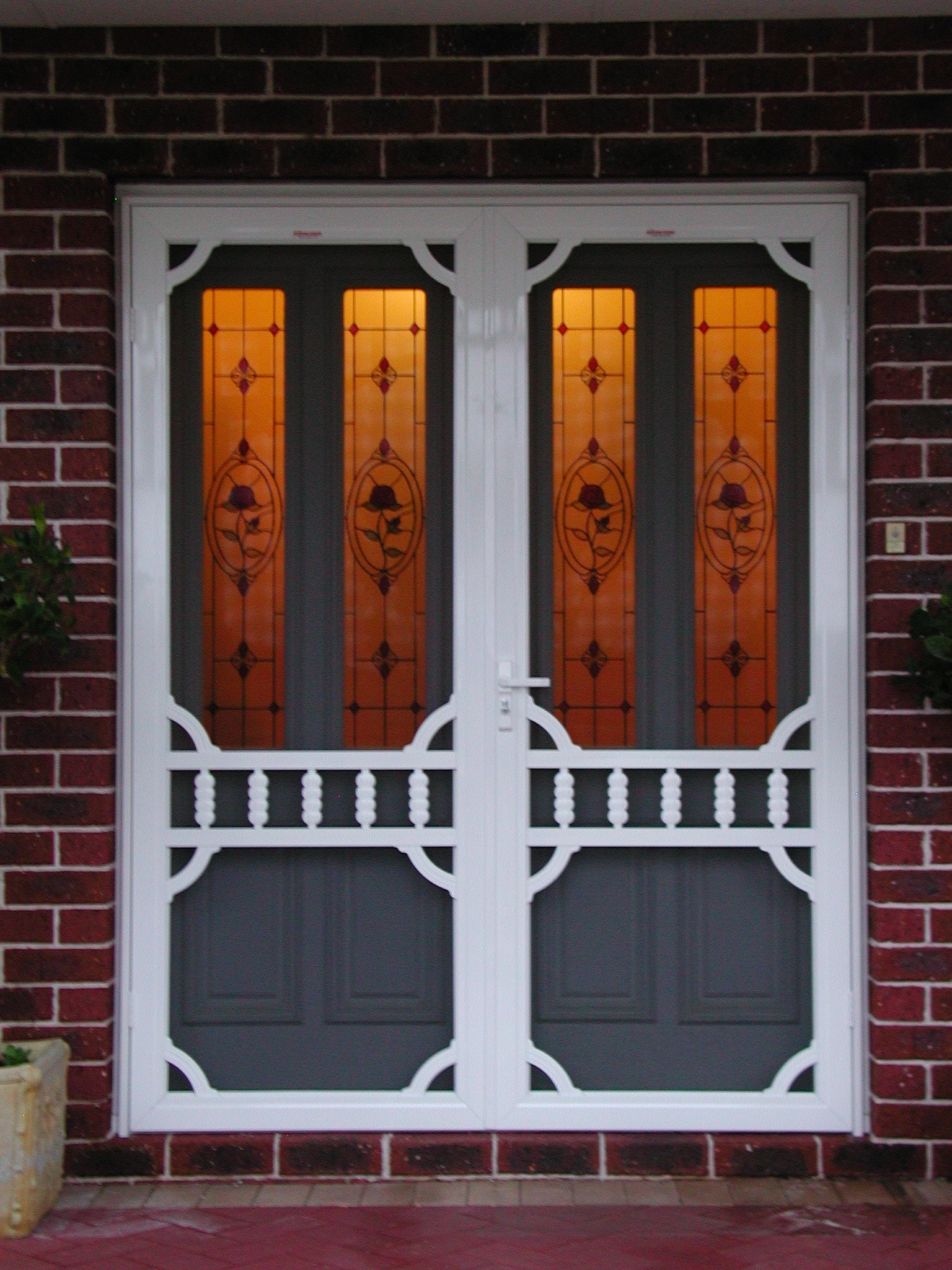 Decorative double front doors installed in Alexander Heights for security